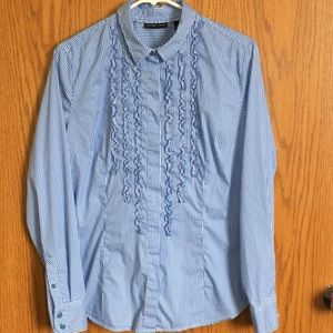 New York & Co button down, long sleeve top blue
